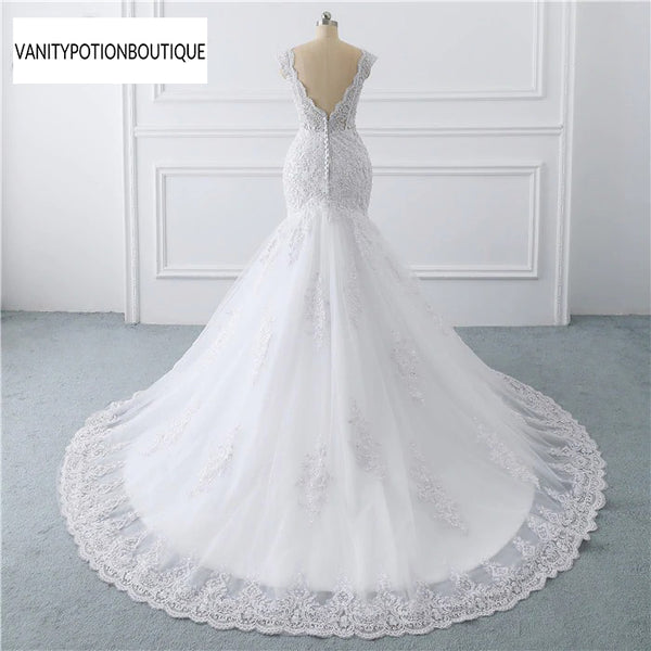 vestido de noiva sereia branco  abiti da sposa Illusion Button Back Lace Applique Pearls Crystal V Neck Wedding Dress