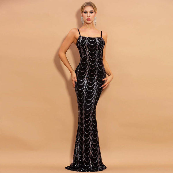 HIGH NECK WAVE SEQUINS SEE THOUGH MAXI DRESS