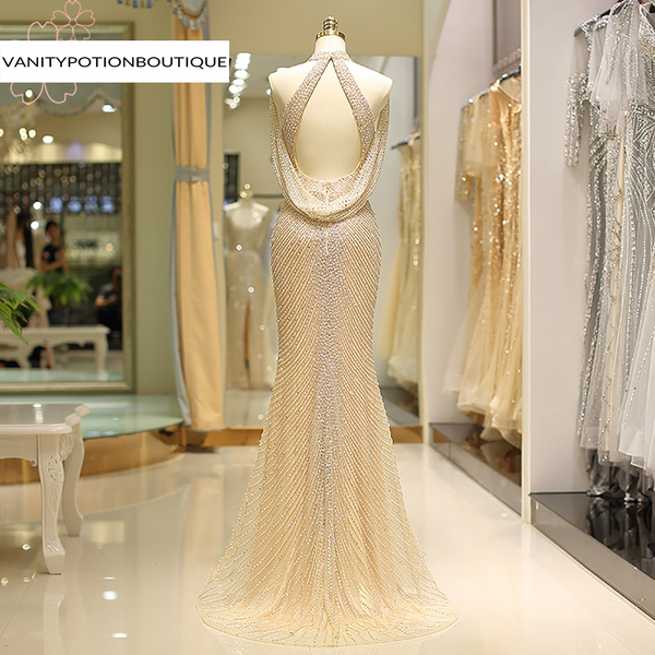 Front Split Gold Evening Dress  Long Sexy Luxury Dubai Arabic Crystal Mermaid High Neck Formal Party Gown