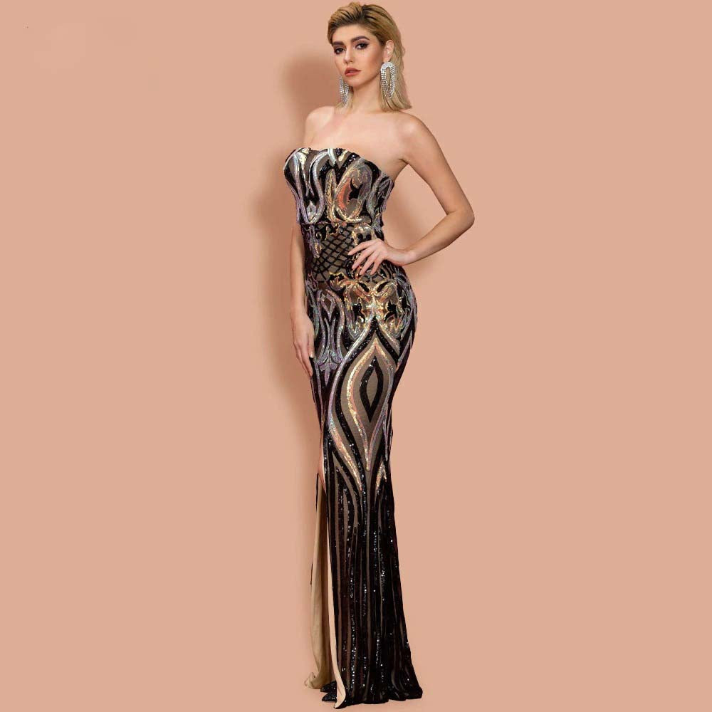 HIGH SPLIT MAXI ELEGANT OFF SHOULDER SEQUIN MULTI EVENING DRESS