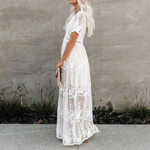 HER MOMENT BOHO MAXI LACE DRESS