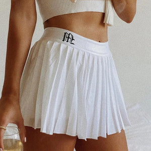 CHEERING YOU ON POMPOMS PLEATED MINI SKIRT