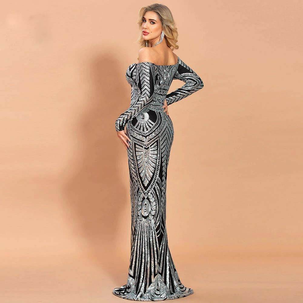 ELEGANT BODYCON MAXI SLASH NECK OFF SHOULDER  SEQUIN  EVENING DRESS