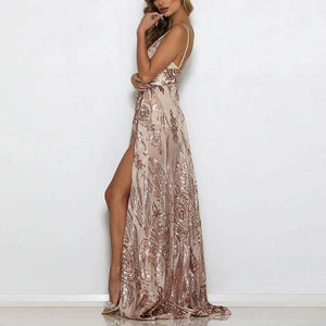 AMARA THIGH SLIT EMBELLISHED SEQUIN MESH MAXI DRESS