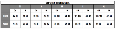Menswear Size Guide