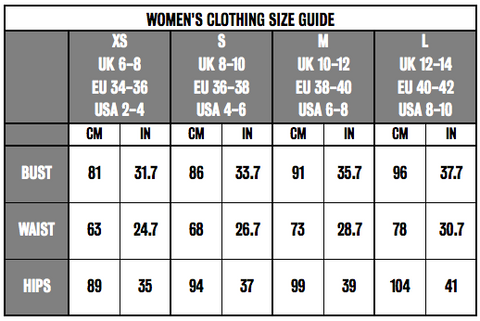 Womens clothing size guide