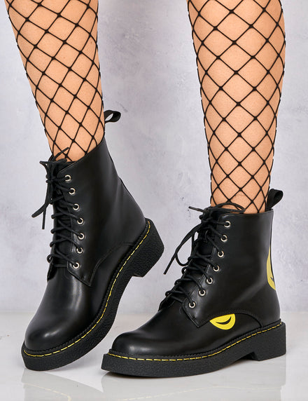 Lamoda Black PU Smiley Face Boots