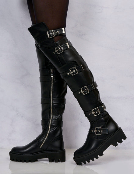 Lamoda Black High Leg Buckle Boots