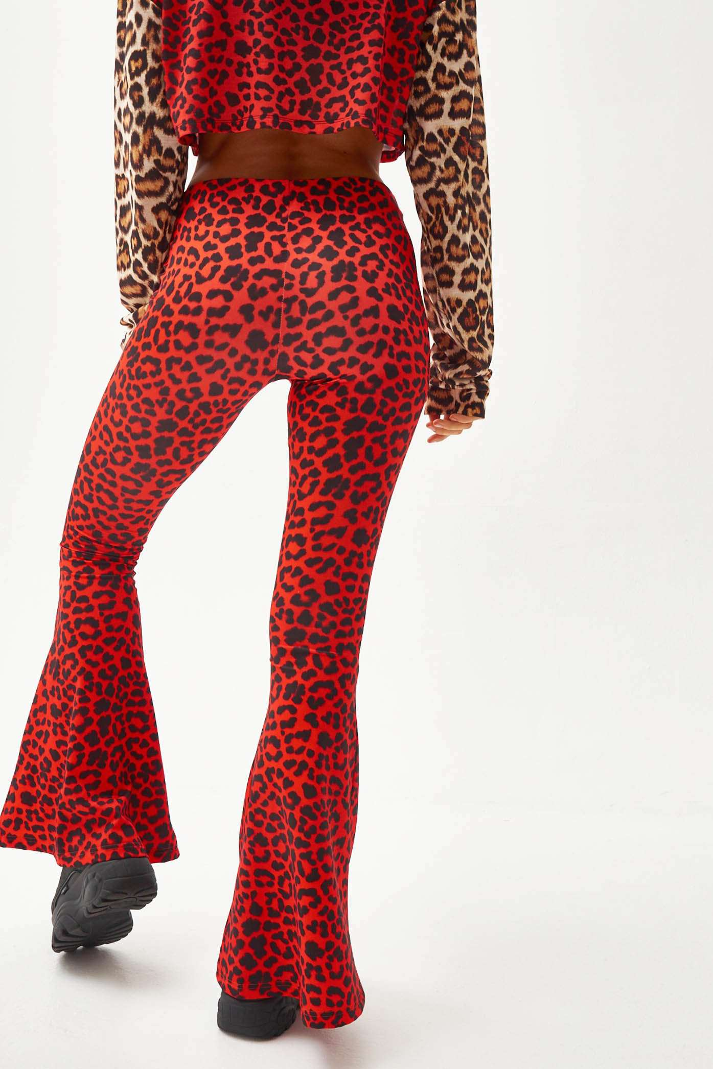 Red Leopard Zip Up Flares