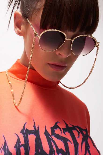 Gold Circle Sunglasses With Chain Detail
