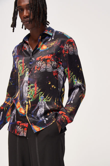 Robotic Laser Print Long Sleeve Shirt