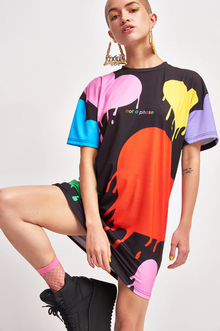Rainbow Heart T-Shirt Dress