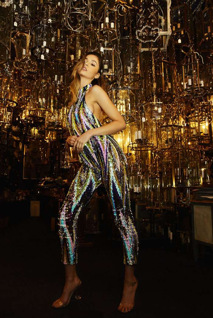 Stripe Sequin High Neck Catsuit
