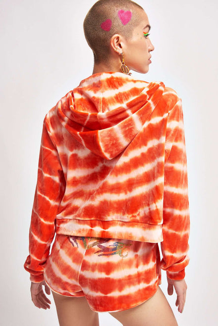 Orange Tie Dye Velour Hoodie With Rainbow Rhinestones