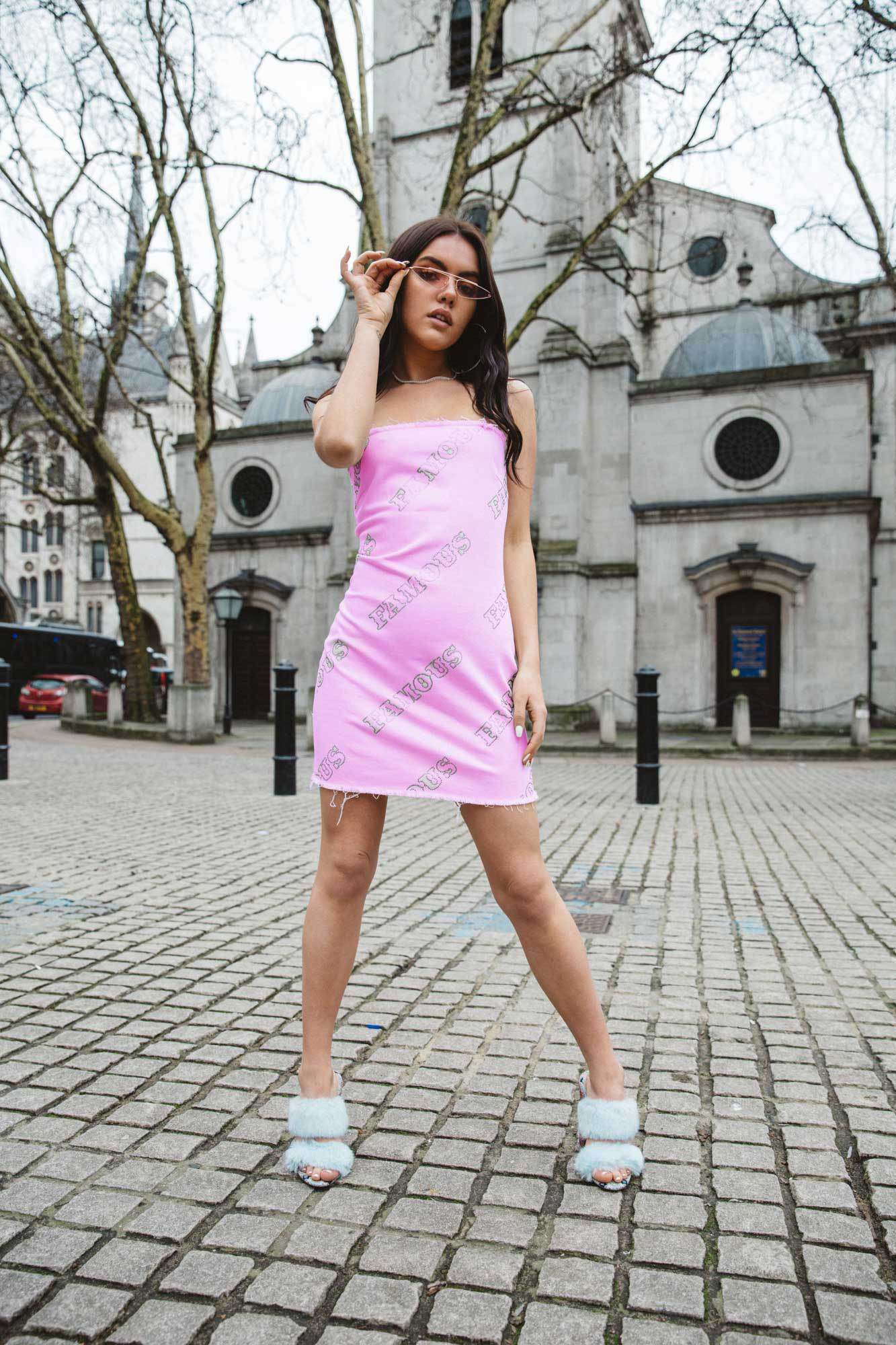 Pink Denim Dress with Famous Diamante