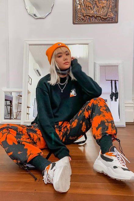 Orange Tie Dye Cargo Trousers