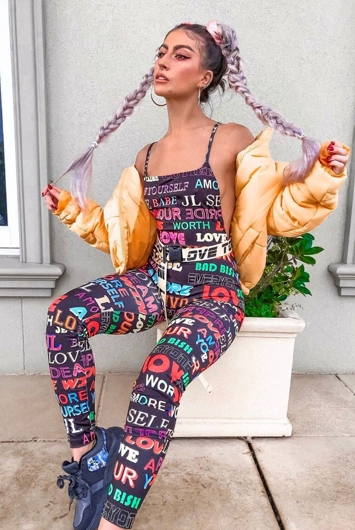 Slogan Printed Catsuit
