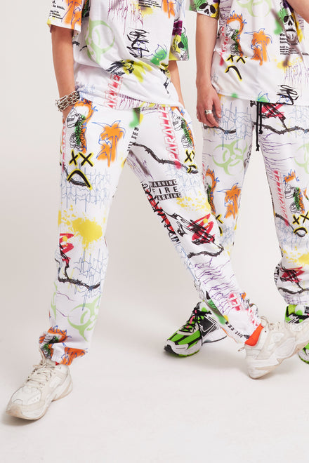 Parallel Graffiti Print Joggers