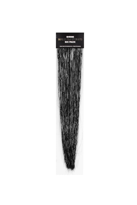 The Shrine Black Tinsel 6 Pack Hair Extensions