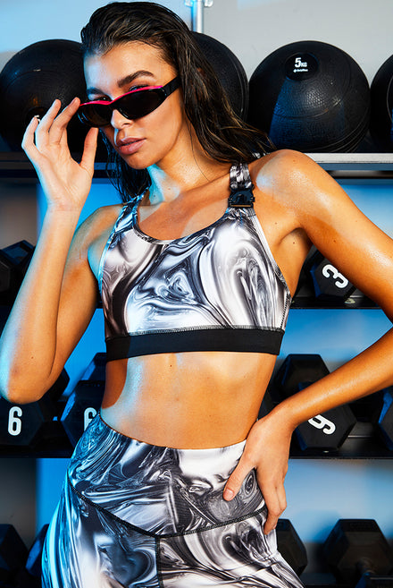 Chrome Print Sports Bra
