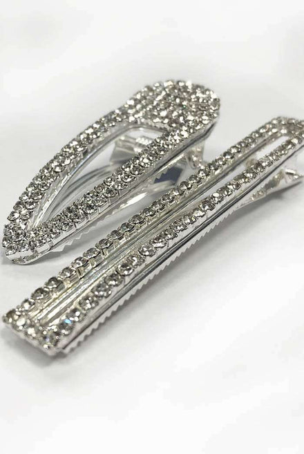 Set Of Two Silver Diamante Hair Clips
