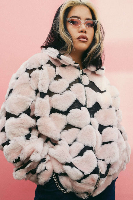 Oversized Pink Heart Fleece Jacket