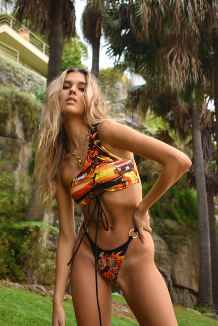 Flaming Car Print One Shoulder Bikini Top