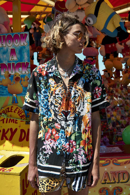 Tiger Floral Viscose Short Sleeve Shirt
