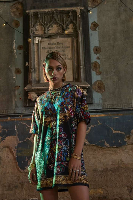 Stained Glass Window Print Oversized T-Shirt Dress