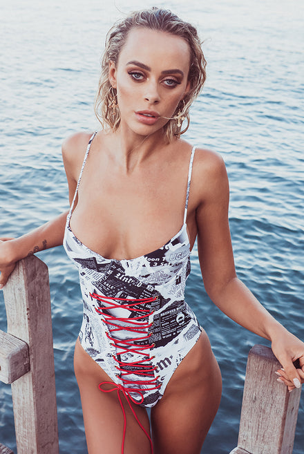 Newspaper Print Cup Detail Swimsuit