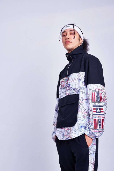 Map Print Overhead Jacket