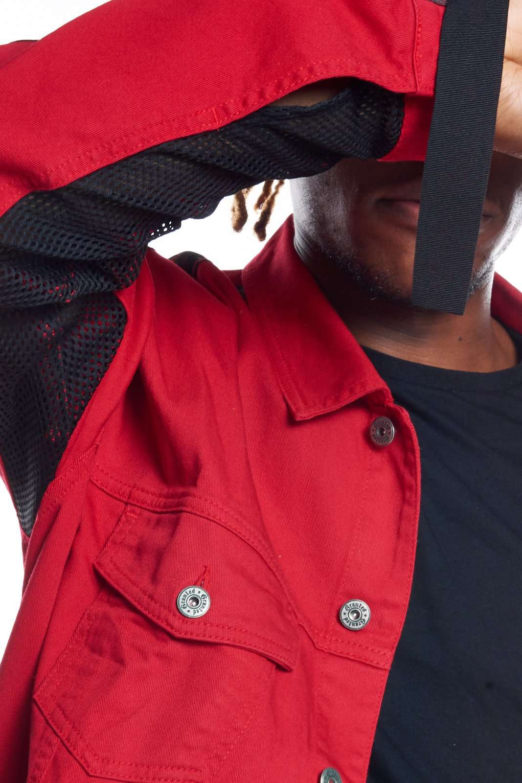 Granted Red Denim Jacket With Taping & Mesh