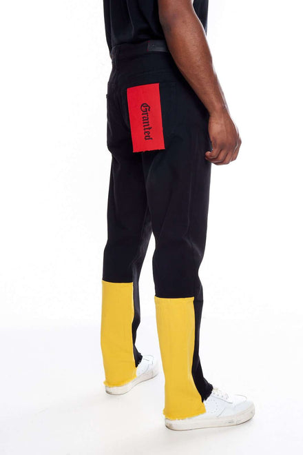 Granted Black Jeans With Yellow Contrast Panel