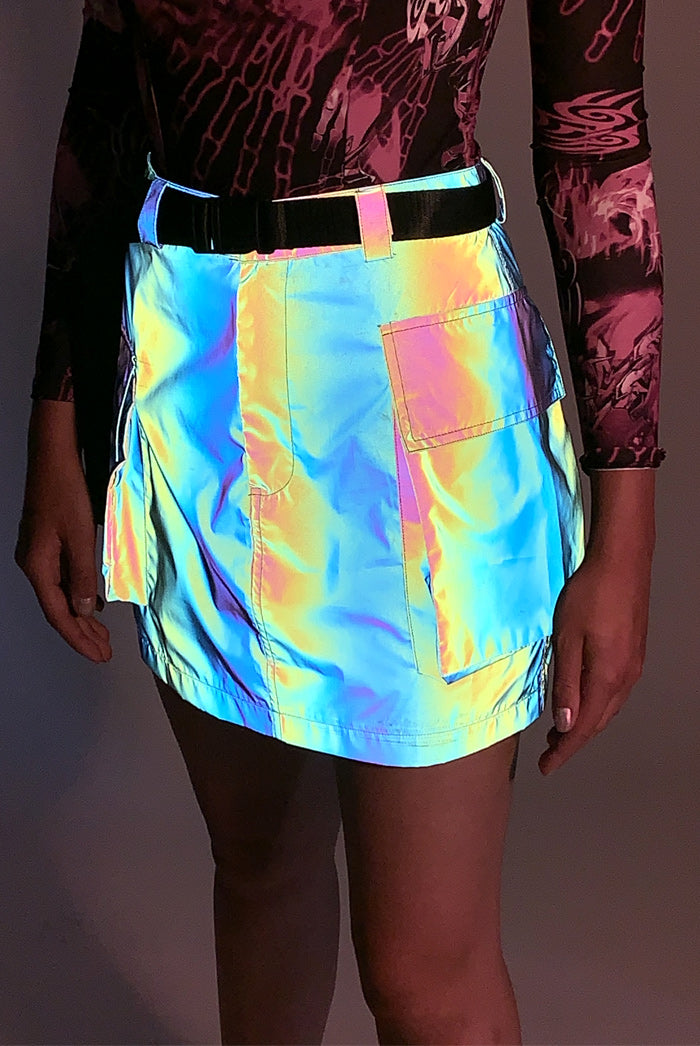Rainbow Reflective Skirt With Webbing Belt
