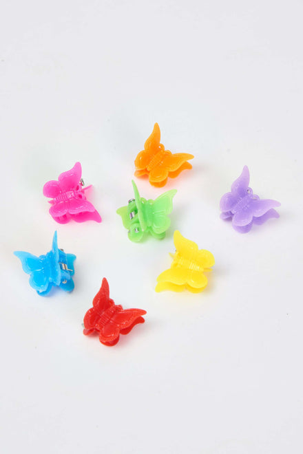 Set of 7 Multicoloured Butterfly Clips