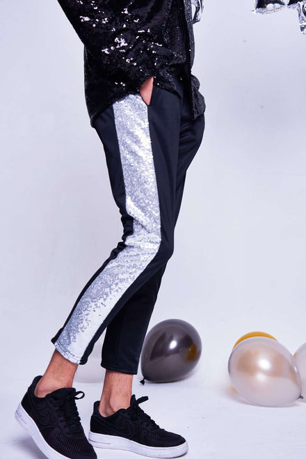 SKINNY CROPPED TROUSERS WITH SILVER SEQUIN PANEL