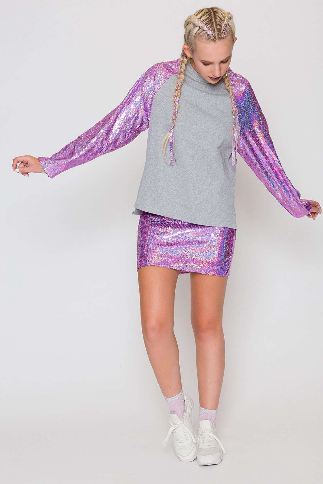 Pink Hologram Sequin Sweat