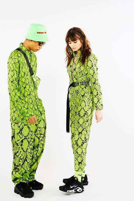 Neon Green Snake Print Boilersuit