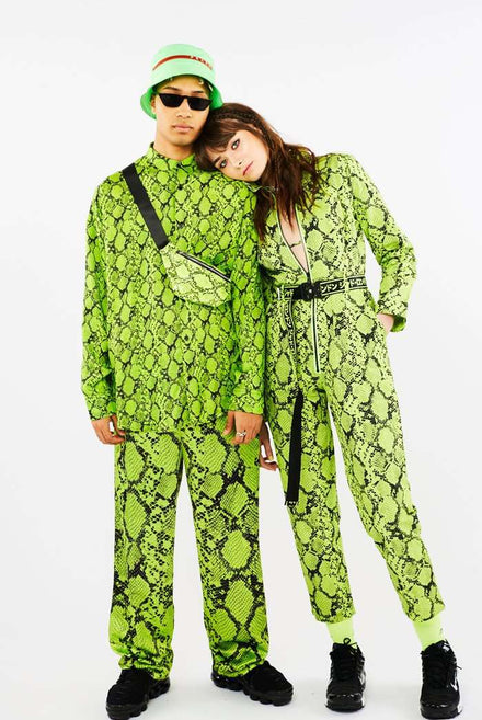 Neon Green Snake Print Satin Trousers