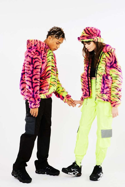 Neon Tiger Faux Fur Jacket