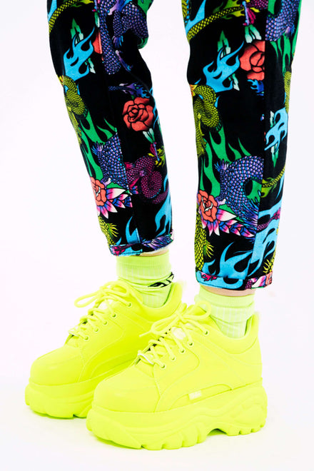 Buffalo London Reflective Neon Yellow Platform Trainers