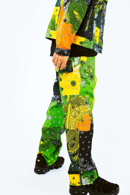Yellow & Green Paisley Dragon Cargo Jeans