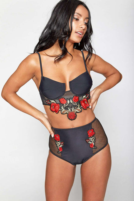 Black Rose Embroidered Bikini Top