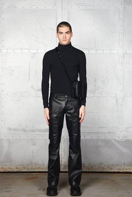 Black Panelled Vegan Leather Trouser