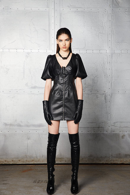 Black Vegan Leather Corset Mini Dress