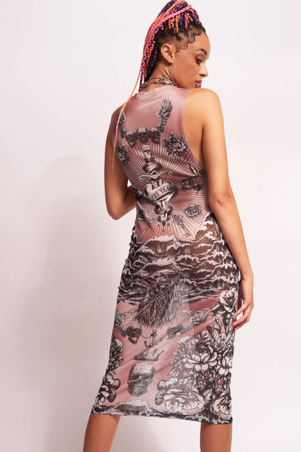 Tattoo Print Mesh Midi Dress