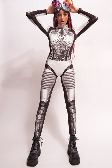 Robot Print Long Sleeve Catsuit