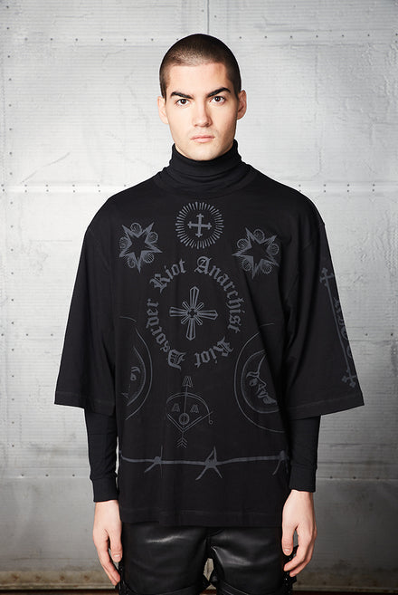 Black Gothic Print Oversized T-shirt