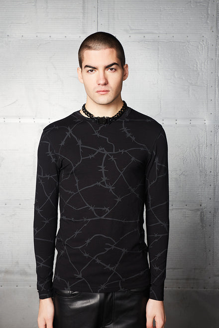 Barbed Wire Print Long Sleeve Top