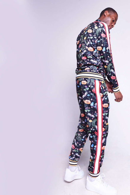 Printed Floral Tracktop With Side Stripes